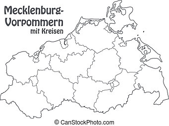 Map of Mecklenburg-Western Pomerania with borders in gray