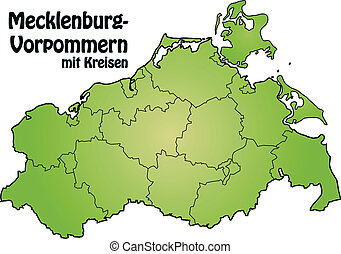 Map of Mecklenburg-Western Pomerania with borders in green