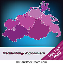 Map of Mecklenburg-Western Pomerania with borders in violet