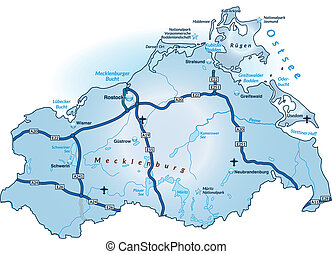 Map of Mecklenburg-Western Pomerania with highways in blue