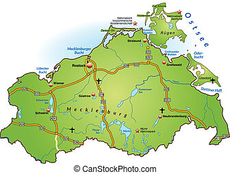 Map of Mecklenburg-Western Pomerania with highways in green