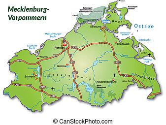 Map of Mecklenburg-Western Pomerania with highways