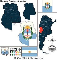 Map of Mendoza Province, Argentina