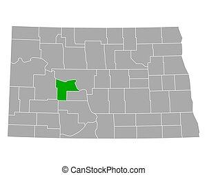 Map of Mercer in North Dakota