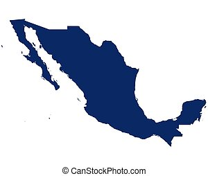 Map of Mexico in blue colour