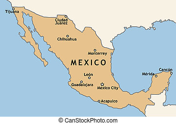 Map of Mexico - Mexico map with major Mexican cities: Mexico...