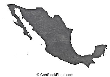 Map of Mexico on dark slate