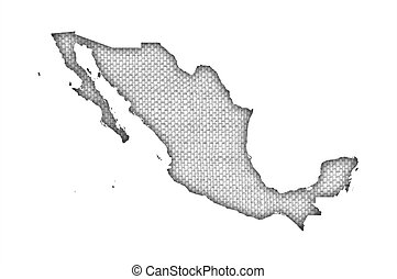 Map of Mexico on old linen