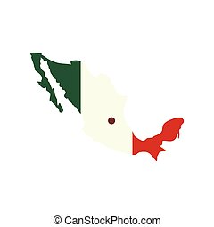 Map of Mexico with the image of the national flag