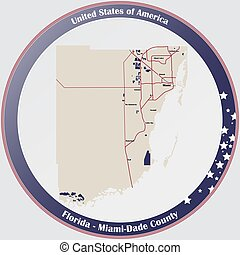 Map of Miami-Dade County in Florida