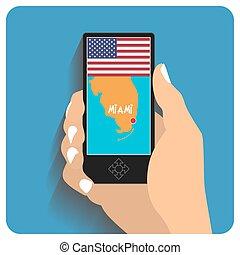 smartphone with mobile gps - Map of Miami, Florida, USA...