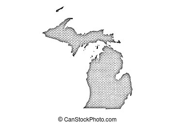 Map of Michigan on old linen