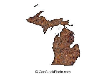 Map of Michigan on rusty metal