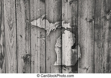 Map of Michigan on weathered wood