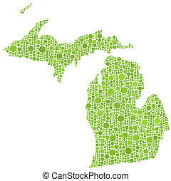 Map of Michigan (USA) - The figure is composed of a mesh of...