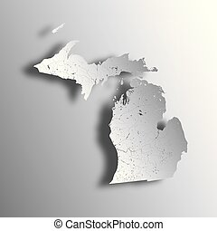 Map of Michigan with lakes and rivers.