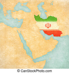 Map of Middle East - Iran