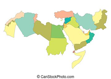 Map of Greater Middle East with borders of countries
