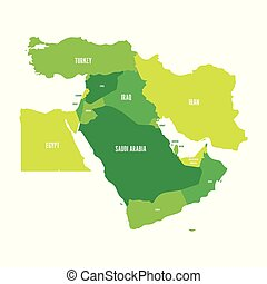 Map of Middle East, or Near East, in shades of green. Simple flat vector ilustration