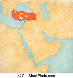 Map of Middle East - Turkey