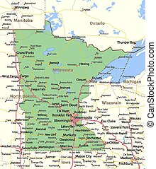 Map of Minnesota. Shows state borders, urban areas, place names, roads and highways. Projection: Mercator.