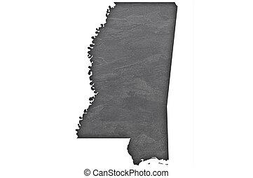 Map of Mississippi on dark slate