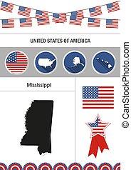 Map of Mississippi. Set of flat design icons nfographics element