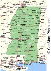 Mississippi - Map of Mississippi. Shows state borders, urban...
