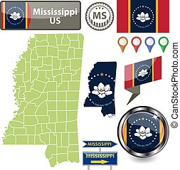 Map of Mississippi, US