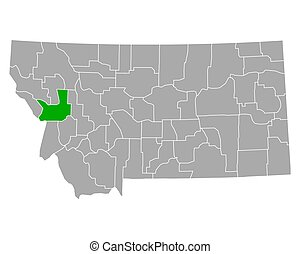 Map of Missoula in Montana