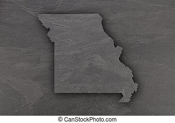 Map of Missouri on dark slate