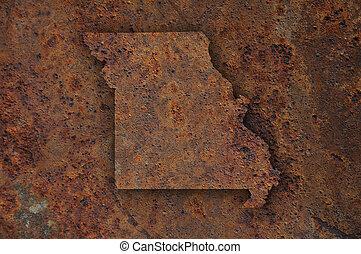 Map of Missouri on rusty metal