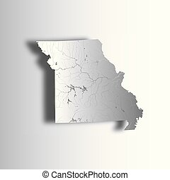Map of Missouri with lakes and rivers.