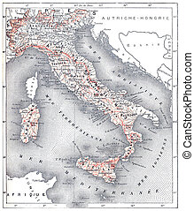 Map of modern Italy, vintage engraving.