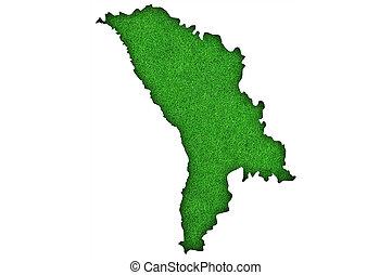 Map of Moldova on green felt