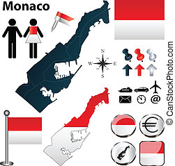 Map of Monaco - Vector of Monaco set with detailed country...