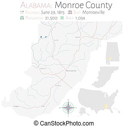 Map of Monroe County in Alabama - Large and detailed map of ...