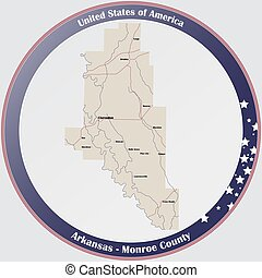 Round button with detailed map of Monroe County in Arkansas, USA.