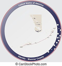 Large and detailed map of Monroe county in Florida, USA.