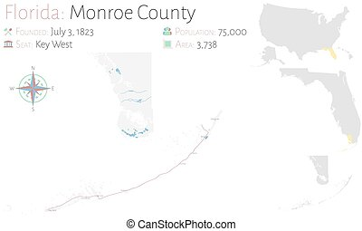 Map of Monroe County in Florida - Large and detailed map of ...