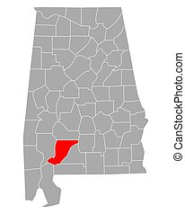 Map of Monroe in Alabama