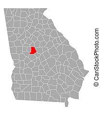 Map of Monroe in Georgia