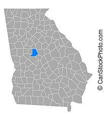 Map of Monroe in Georgia