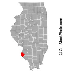 Map of Monroe in Illinois