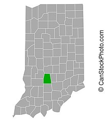 Map of Monroe in Indiana