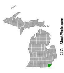 Map of Monroe in Michigan