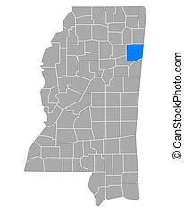 Map of Monroe in Mississippi