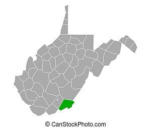 Map of Monroe in West Virginia
