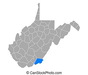 Map of Monroe in West Virginia