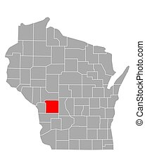 Map of Monroe in Wisconsin